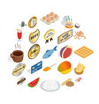 dish icons set cartoon style vector image vector image