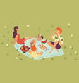 family picnic in park outdoors mother father vector image