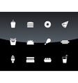 Fast food icons on black background vector image vector image