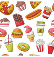 fast food seamless pattern background restaurant vector image