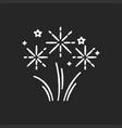 fireworks chalk white icon on black background vector image