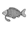 fish in necktie sketch engraving vector image vector image