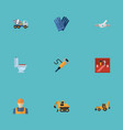 flat icons mitten cement blender tractor and vector image vector image