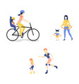 flat mother girl doing exercise vector image