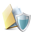 folder icon with a shield vector image vector image