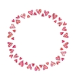 Frame of red hearts on white background vector image
