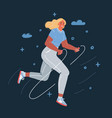 girl jumping a rope on dark vector image vector image