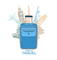 hand drawn travel bag in the background of world vector image vector image