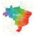 hand drawn watercolor map brazil vector image vector image
