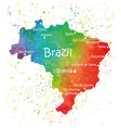 hand drawn watercolor map of brazil vector image vector image