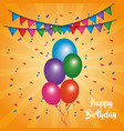 happy birthday card shining balloons multicolor vector image