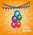 happy birthday card shining balloons multicolor vector image vector image