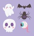 happy halloween ghost skull spider creepy eye vector image vector image