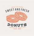 hot and fresh donuts retro badge design vintage vector image