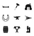 industrial blacksmith icon set simple style vector image vector image