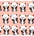 Kawaii funny panda seamless pattern on pink vector image