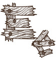 letter e from wooden planks alphabet picture for vector image vector image