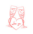 linear champagne glass hearts vector image vector image