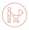 Man at kettle barbecue grill line icon vector image vector image