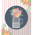 mason jar flowers decoration corner stripes vector image