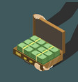 money in suitcase flat isometric low poly vector image vector image