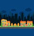 night city with three cartoon houses vector image
