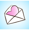 Opened letter with heart Hand drawn vector image