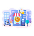 ordering pizza online mobile phone delivery by vector image vector image
