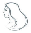 portrait of the girl with long hair vector image