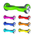 rainbow colors set hoverboard or gyroscooter city vector image vector image