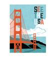 retro travel poster golden gate bridge vector image