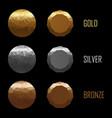 set medals gold silver bronze in polygonal vector image vector image