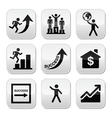 Success in business self development buttons set vector image vector image