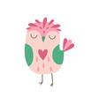 sweet pink owlet adorable owl bird vector image vector image