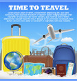 time to travel with airplane suitcase luggage bag vector image
