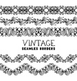 Vintage semless borders isolated on white vector image