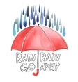 Watercolor red umbrella under rain vector image