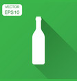wine bottle icon in flat style alcohol bottle vector image vector image
