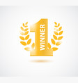 winner number one background with olive branch vector image vector image