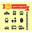transport icons with red tape vector image