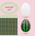 easter set with an ornament of green leaves vector image
