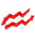 arrows red financial indication arrows vector image vector image