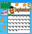 calendar for September and school books vector image vector image