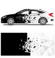car wrap crash art with polygon texture vector image