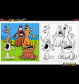 cartoon howling dogs group coloring book page vector image vector image