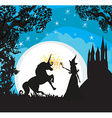 Castle Unicorn and fairy vector image vector image