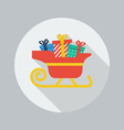 Christmas Flat Icon Santa sledge vector image
