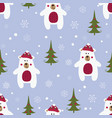 christmas seamless pattern with polar bears vector image