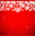 christmas snowflake snow stars red background vector image vector image