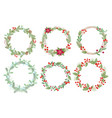 christmas wreaths flat set vector image vector image